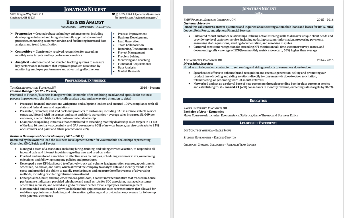 Resume Samples All Star Career Services